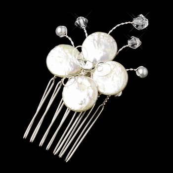 Dainty Floral Coin Pearl Mini Comb Pin-104