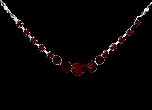 * Necklace Earring Set 305 Silver Red