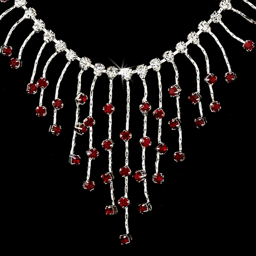 Necklace Earring Set 3126 Silver Red