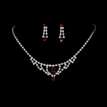 * Necklace Earring Set 340 Red