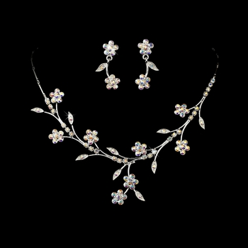 Necklace Earring Set 363 Silver AB