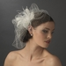 Feather Rhinestone Couture Fascinator & Birdcage Veil Comb 8415