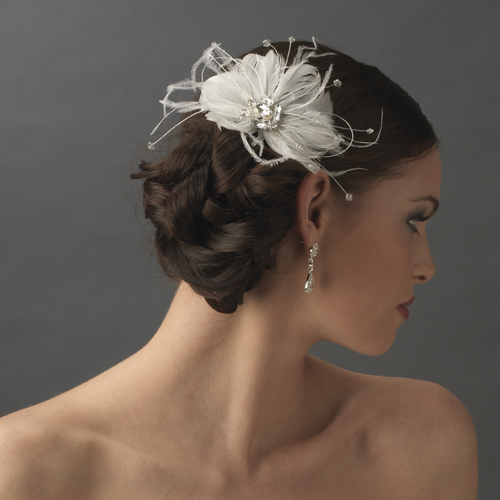 Feather Spray Bridal Hair Comb With Rhinestone Couture
