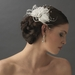 Couture White Feather Spray Bridal Hair Comb w/ Rhinestones 8401