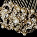 Vintage Pearl & Crystal Bridal Hair Comb 13088 Gold