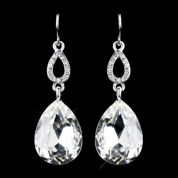 Silver Clear  Crystal Drop Earrings 25285