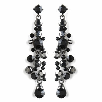Antique Black & Smoke Rhinestone Drop Earrings 9961