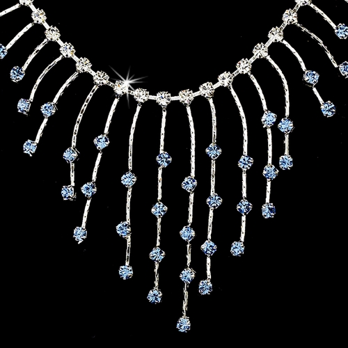 Necklace Earring Set 3126 Silver Light Blue