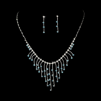 Necklace Earring Set 3126 Silver Aqua