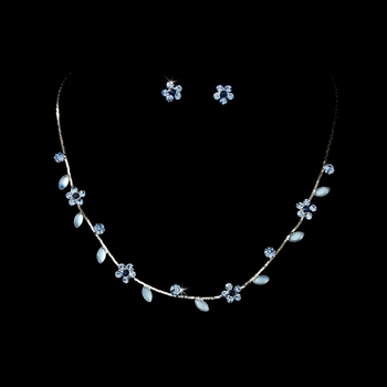 Necklace Earring Set 3734 Silver Blue