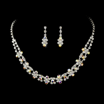 Fabulous Silver Clear & AB Rhinestone Necklace & Earring Set 3092