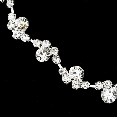Silver Clear Necklace and Earring Set 10935
