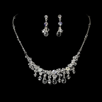 Necklace Earring Set 7612 Silver Clear