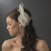 Bridal Feather Hair Piece with Crystals Comb 1517 (White or Ivory)