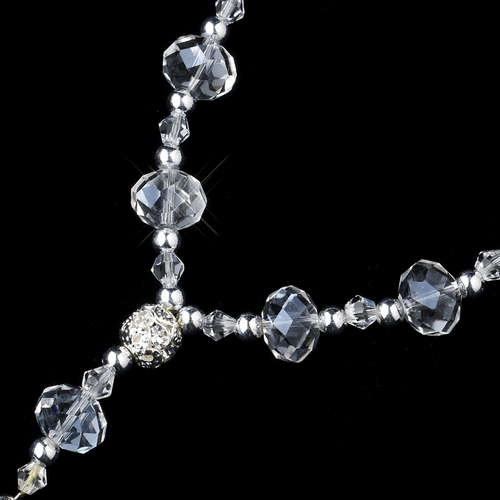 Clear Crystal Bead with Silver Cross Bracelet 247