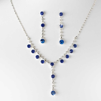 Necklace Earring Set NE 7157 Silver Blue