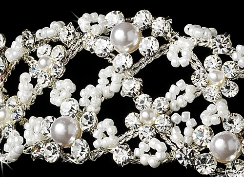 * Flexible Rhinestone & Pearl Headband HP 1915