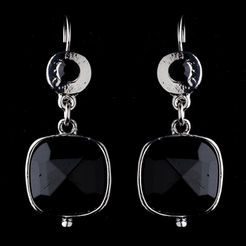 Antique Silver Black Crystal Drop Earrings 8402