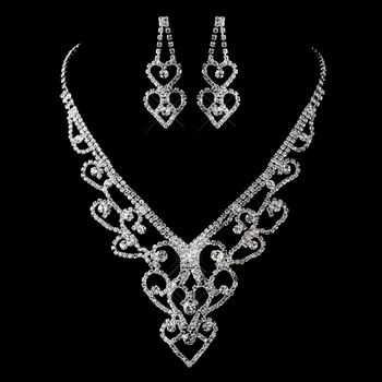 Silver Clear Rhinestone Heart Necklace & Earrings Jewelry Set 12942