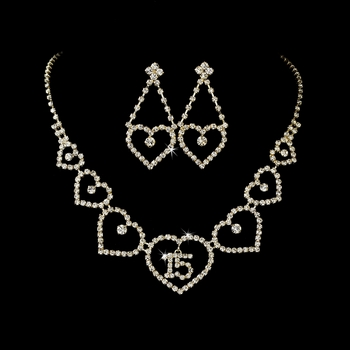 Gold Sweet 15 Quinceañera Rhinestone Heart Necklace & Earring Jewelry Set NE 460