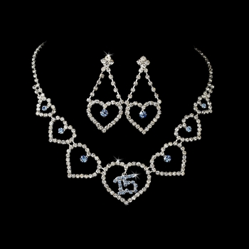 Light Blue Rhinestone Sweet 15 Quinceañera Heart Necklace & Earring Jewelry Set NE 460