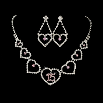 Light Pink Rhinestone Sweet 15 Quinceañera Heart Necklace & Earring Jewelry Set NE 460