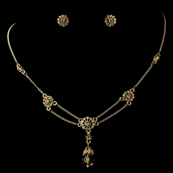 Necklace Earring Set 981 Gold Light Topaz