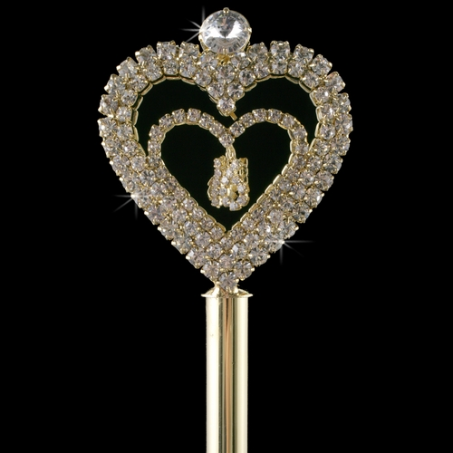 Rhinestone Covered Sweet 16 Heart Scepter in Gold 207