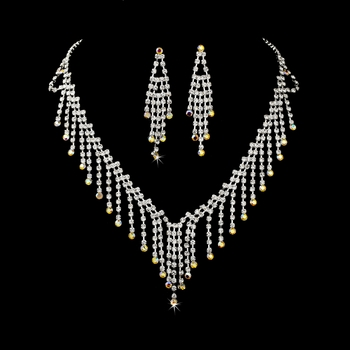 * Necklace Earring Set 374 Silver AB