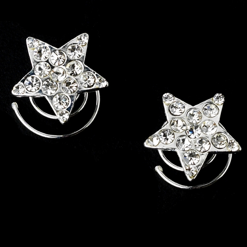 * 24 Silver Clear Rhinestone Star Twist-Ins 0263