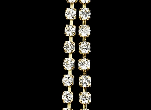Elegant Gold Clear Crystal Dangle Earrings E 20543