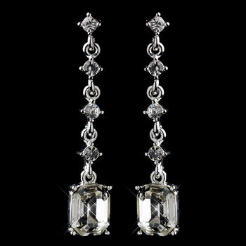 Brilliant Silver Clear Emerald Cut Crystal Dangle Earrings 25198