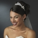 * Elegant Silver Rhinestone Sparkle Headband with Glistening Feather & Bow Side Accent - HP 7799