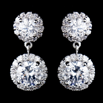 Antique Rhodium Silver CZ Crystal Drop Earrings 9115
