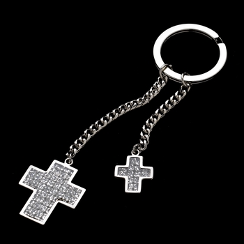 Crystal Glitter Double Cross Bridesmaids Keychain 3960