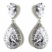 Antique Rhodium Silver Clear CZ Bridal Earrings 8916