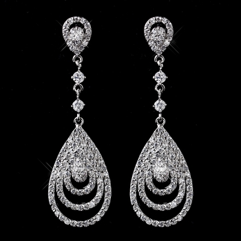 Antique Silver Clear CZ Crystal Drop Earrings 8977