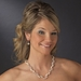Silver Ivory AB Necklace Earring Set 8525
