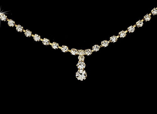 * Necklace Earring Set 338 Gold Clear