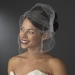 Diamond White Pearl Covered Comb with Attached Russian Tulle Blusher Veil in Silver 8933