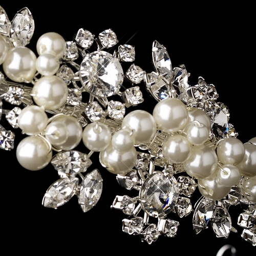 Silver Clear Crystal & Diamond White Pearl Side Accented Headband Headpiece 753