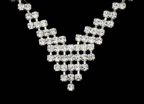 Necklace Earring Set 329 Silver Clear