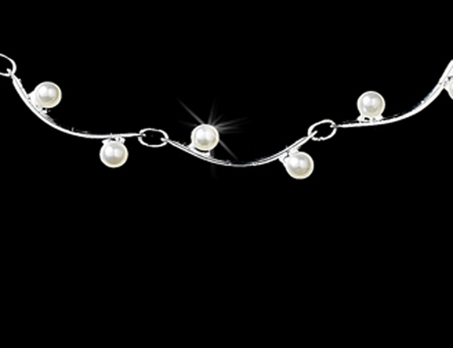 * Chic Silver White Pearl Necklace & Earring Set 119