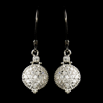 Antique Rhodium Silver Clear CZ Pave Circle Drop Earrings 8578