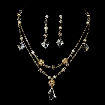 * Necklace Earring Set 7302 Gold Clear