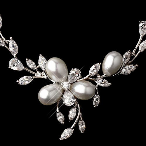 Silver Cubic Zirconia & Pearl Necklace Earring Set  NE 1269