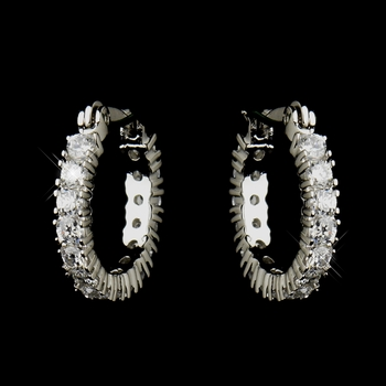 Silver Clear CZ Crystal Hoop Earrings 50001