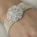 Classic Silver Clear Crystal & Pearl Bridal Bracelet 600 Silver Ivory