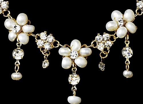 Necklace Earring Bridal Set NE 8263 Gold