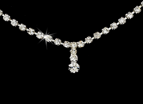 Necklace Earring Set 338 Silver Clear